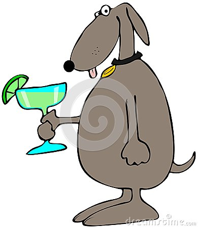 Dog holding a Margarita