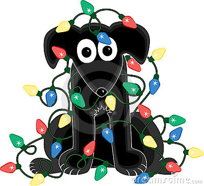 Free Dog In Christmas Light Tangle Royalty Free Stock Photo - 1497055