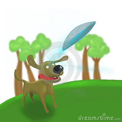 Dog jumping to catch frisbee ufo