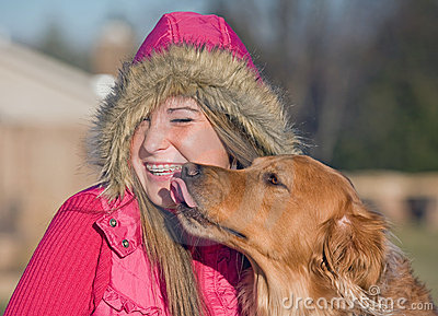 Dog Kissing Teenage Girl