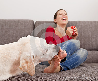 Dog licking the toes