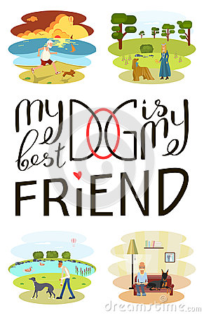 Dog is my best friend Vector Illustration