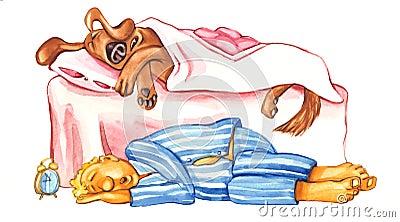 Dog and owner sleep