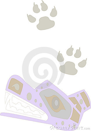 Dog and paw prints