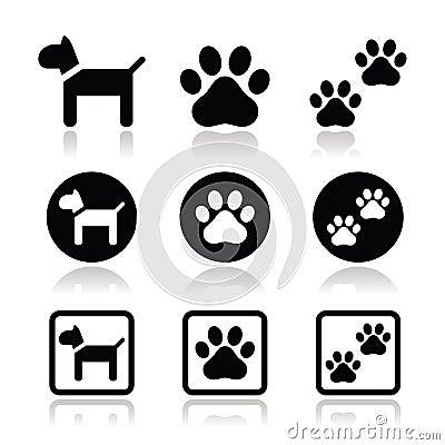 Dog, paw prints  icons set