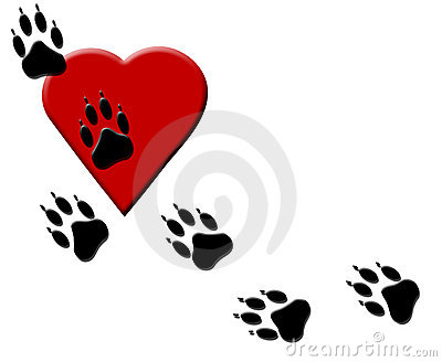 Dog Paw Tracks On Heart Royalty Free Stock Photo - Image: 11602095
