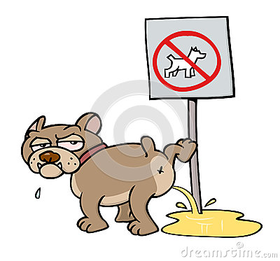 Dog peeing on NO DOGS sign