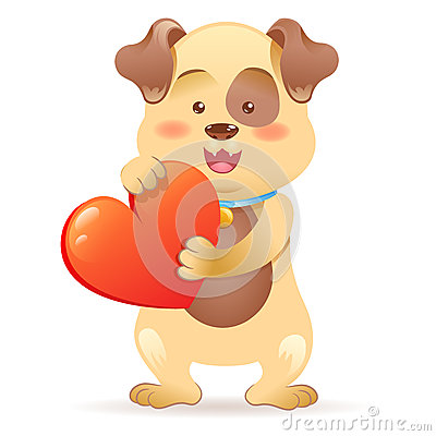 Dog pet  holding heart