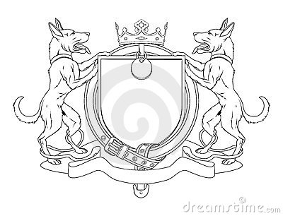 Dog pets heraldic shield coat of arms