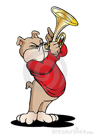A Beagle Puppy Dog Playing Trumpet St...