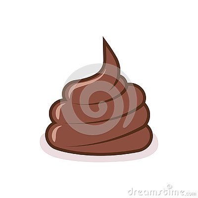 Dog poop on the ground. Brown shit on white background Vector Illustration