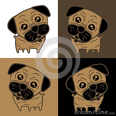 Dog (Pug) in 4 background colors