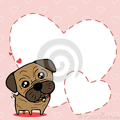 Dog (Pug) with sweet card