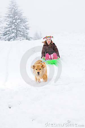 Dog pulling child on a sled