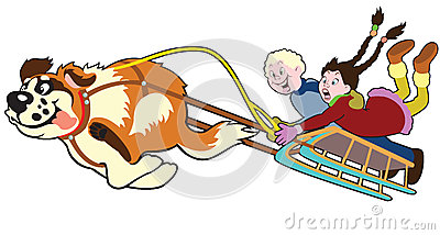 Dog pulling sledge with kids