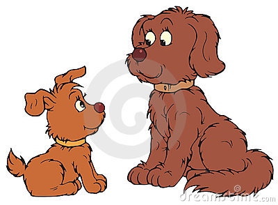 Dog and Pup (vector clip-art)