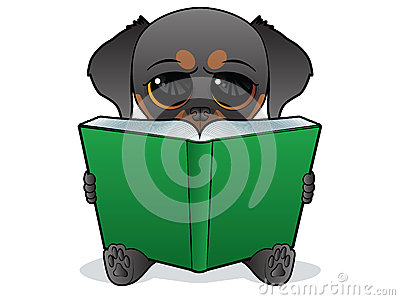 Dog reading a green book