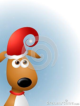 Dog in Santa Claus Hat