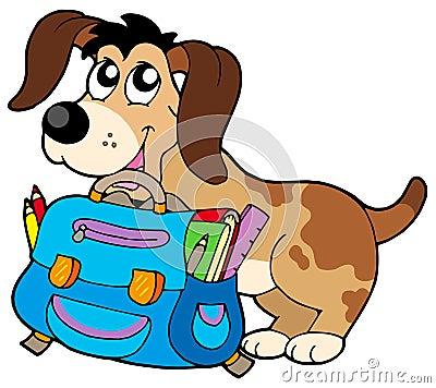 Dog with school bag