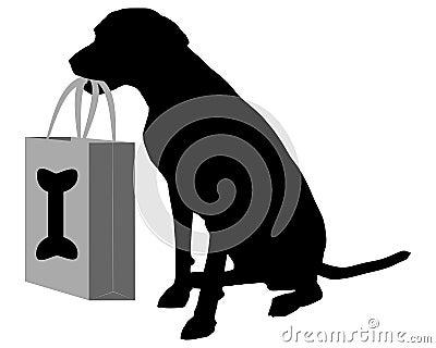 Dog shopping bones