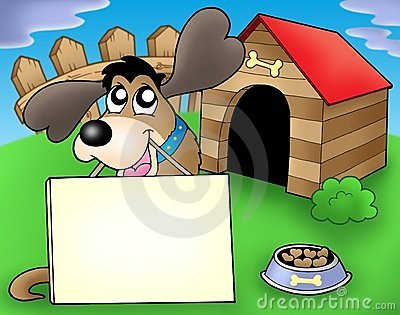 Dog with sign in front of kennel