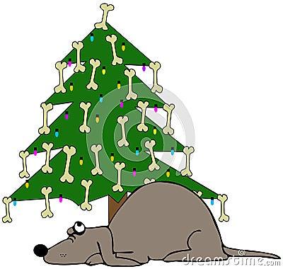 Dog Sleeping Under A Christmas Tree
