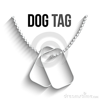 Dog Tags with Chain Vector Icon Vector Illustration