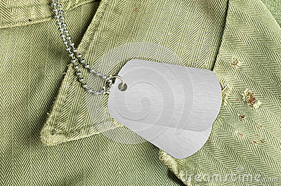 Dog tags on uniform