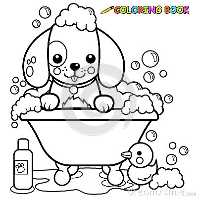 Dog taking a bath coloring page stock vector image 53354382 for Bath time coloring pages