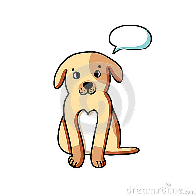 Dog with talking bubble
