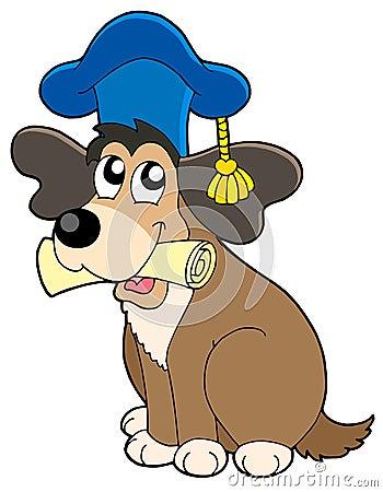 Dog teacher in hat