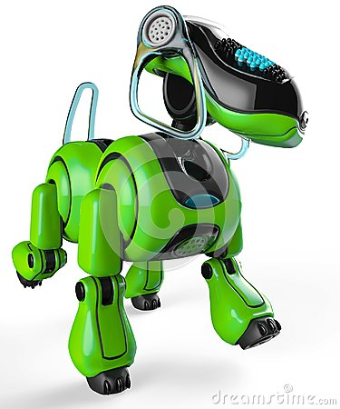 Free Dog The Cyborg Friend In A White Background Stock Images - 124802424