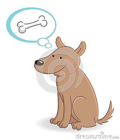 Dog thinking about bone
