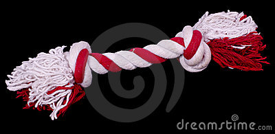 Dog toy, bone shaped rope with knots, isolated against black