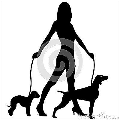 Dog Walking Glamour Woman Silhouette