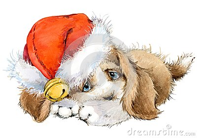 Dog year greeting card. cute puppy watercolor illustration. Cartoon Illustration