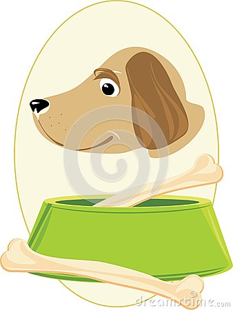 Doggy muzzle and bones in a green bowl. Sticker