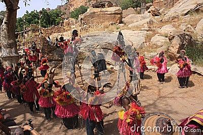 Dogon dance funeral masquerade Editorial Image