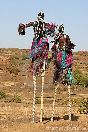 Dogon dancers on stilts Editorial Stock Image