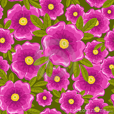 Dogrose seamless green pattern.