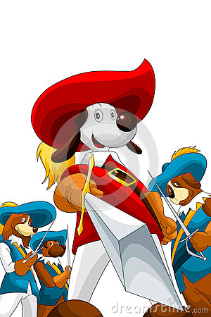 Dogs musketry character cartoon style  illustration white