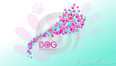 Dogs paws background