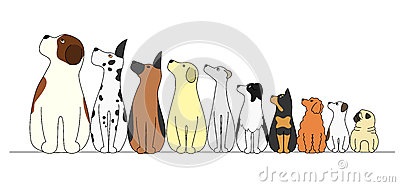 Dogs in a row,looking away Vector Illustration