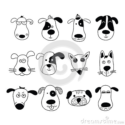 Dogs, set of cute doodle. Vector Illustration