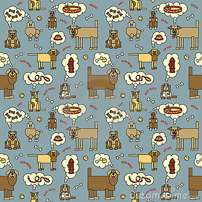 Dogs Thinking Pattern_Blue