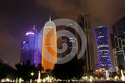 Doha business district at night Editorial Photo