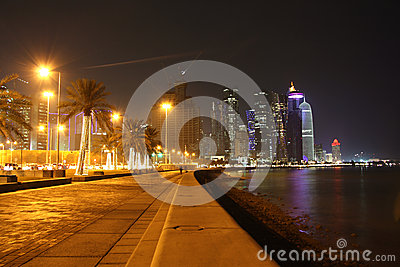 Doha Corniche (Qatar) at night Editorial Stock Image