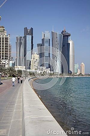 Doha Corniche (Qatar) Editorial Stock Photo