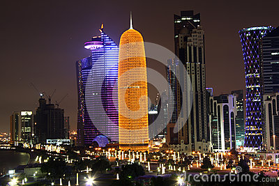 Doha financial and administrative district at nigh Editorial Photography