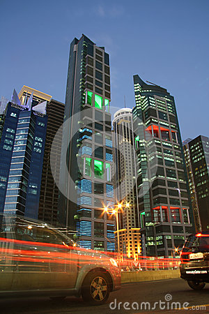 Doha financial district at dusk Editorial Stock Photo